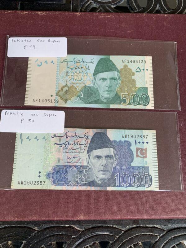 Pakistan 1000  500 Rupees p-50 VF 49 AUNC Banknote
