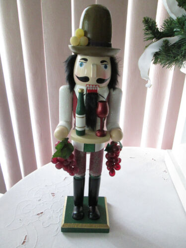 """15"""" Wooden Nutcracker with Wine, Grapes and Glass, New"""