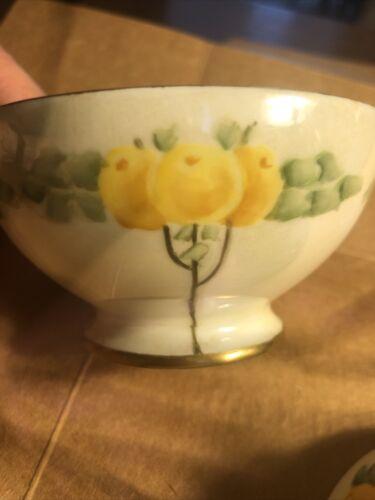 2Antique T V Limoges France Small Pedestal Bowls, Gold Trimmed, Hand Painted. - $20.00