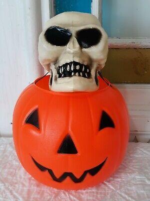 Vintage Empire Blow Mold Jack-O-Lantern Pumpkin Candy Treat Bucket Pail + Skull