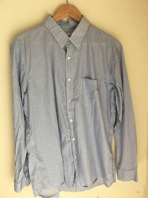 Uniqlo x Jilsander +J Shirt Size XL Blue White Stripe 100% Cotton