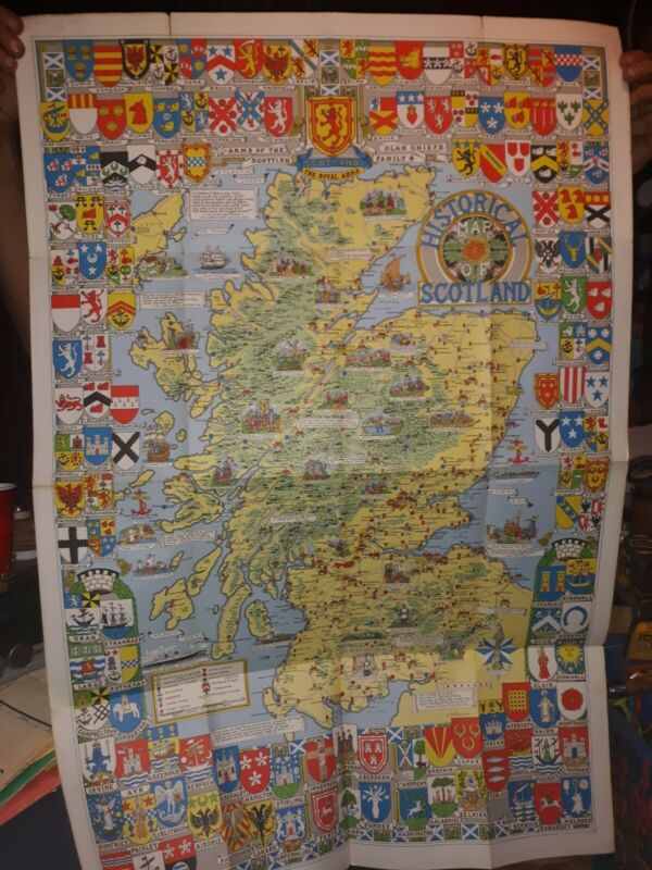 VINTAGE HISTORICAL MAP OF SCOTLAND BY L.G. BULLOCK