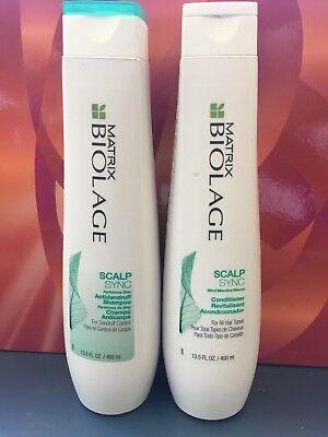 MATRIX BIOLAGE SCALPSYNC Anti dandruff Shampoo &  Conditioner 13.5 oz each Biolage Anti Dandruff Shampoo