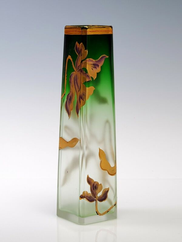 """Moser Cut Crystal - Green to Clear - 5"""" Tall Cabinet Vase Gold Flower"""
