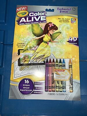 Crayola Color Alive Enchanted Forest coloring book with crayons, 2015 fairies