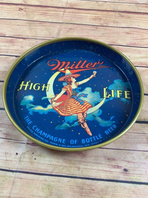 VTG  MILLER HIGH LIFE BEER GIRL ON THE MOON METAL TIN TRAY