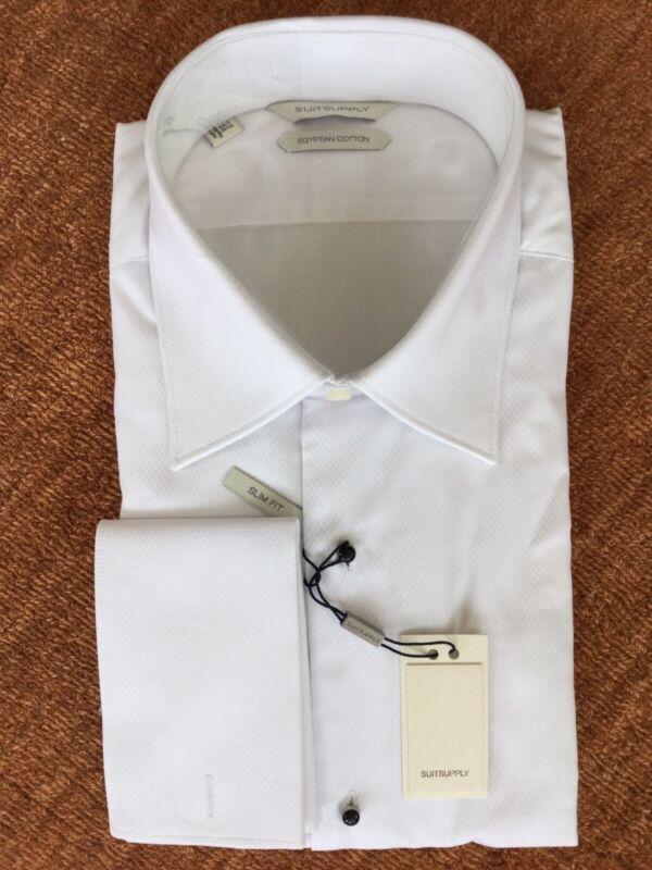 SUITSUPPLY Formal Tux Shirt Egyptian Cotton Pique Bib 16.5L/42 Slim Fit NWT $99