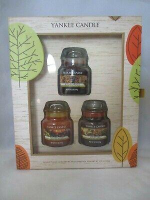Yankee Candle Autumn Gift Set Three Small Jar Candle New Unused IOB 2012