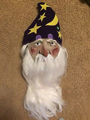 Old Man Wizard Father Time White Hair Beard Deluxe Latex Mask Costume