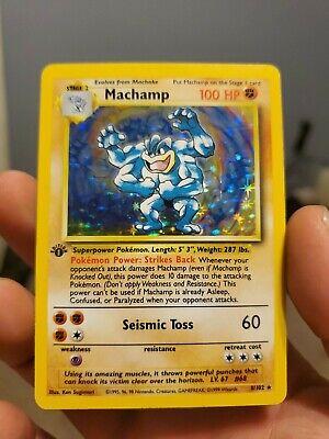 1st Edition MACHAMP 8/102 English Holo Pokemon Base Set Light Played