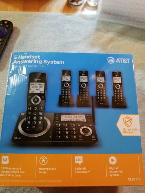 BRAND NEW IN BOX AT&T CL83519 5 Handset Answering System with Smart Call Block