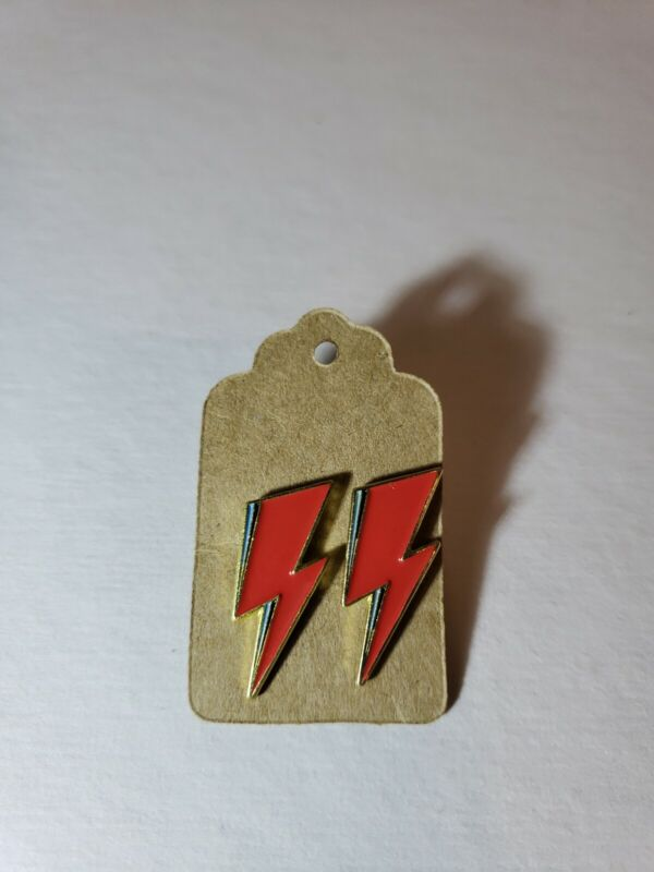 Lot of 2 Aladdin Sane Red Lightning Bolt Enamel Pin Bowie Brooch Ships from USA