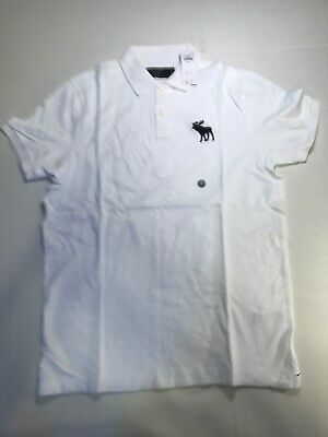 Exploded Icon Stretch Polo White- Abercrombie & Fitch Size L/ NWT