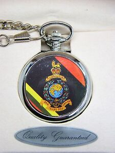 THE-ROYAL-MARINES-ARMY-BADGE-POCKET-WATCH-CHAIN-FREE-KEYRING-MILITARY-GIFT