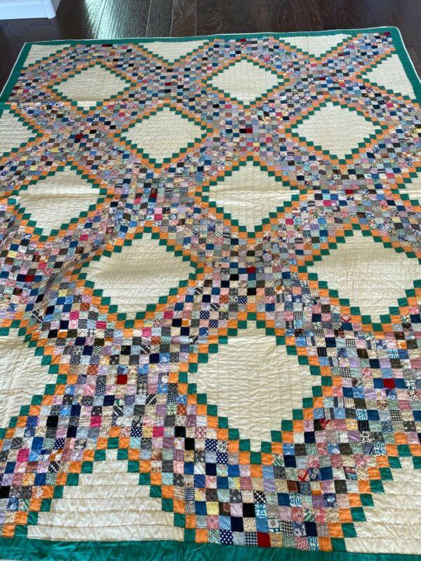 1930s Irish Chain Pattern Variation Handmade Patchwork Quilt