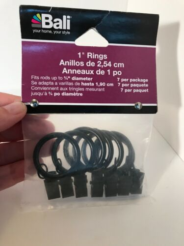 "Brand New - Bali Blinds 1"" Black Curtain Clip Rings"