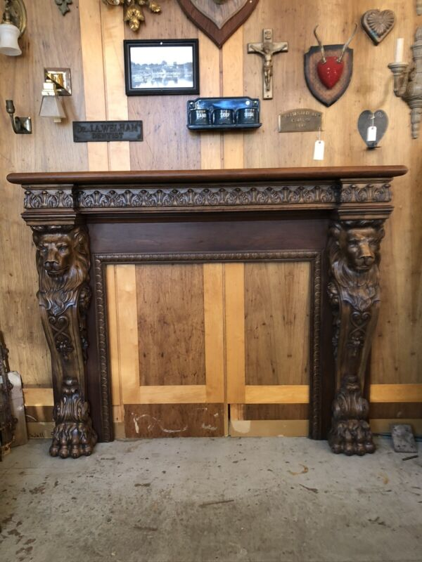 Contemporary Neo Renaissance Style Hand Carved Walnut Fireplace Mantle