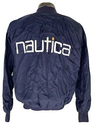 Vtg 90s Nautica Navy Blue Spell Out Nylon Windbreaker Sailing Jacket One Size