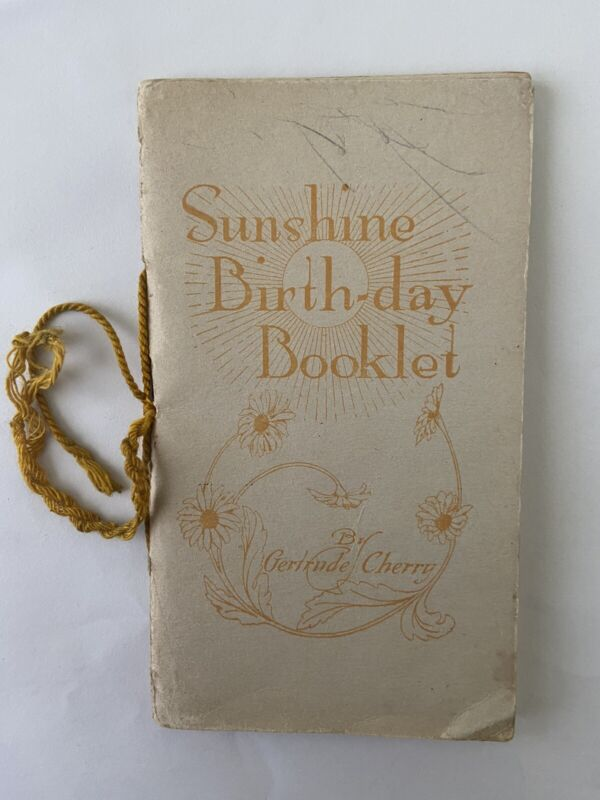 Sunshine Birth-day Booklet By Gertrude Cherry. Salvation Army Memorabilia.