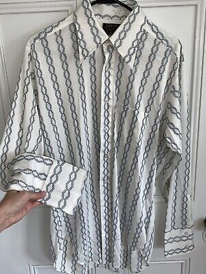 Sears Best Vintage Disco 70s button down shirt Large 16 34 White polyester