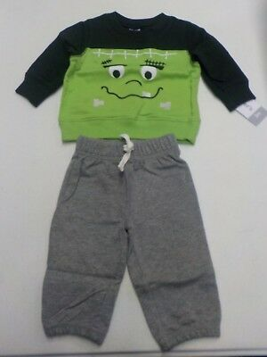 BABY BOY 3 MONTHS CARTER'S FRANKENSTEIN HALLOWEEN 2 PC OUTFIT GREEN NEW - Frankenstein Outfits