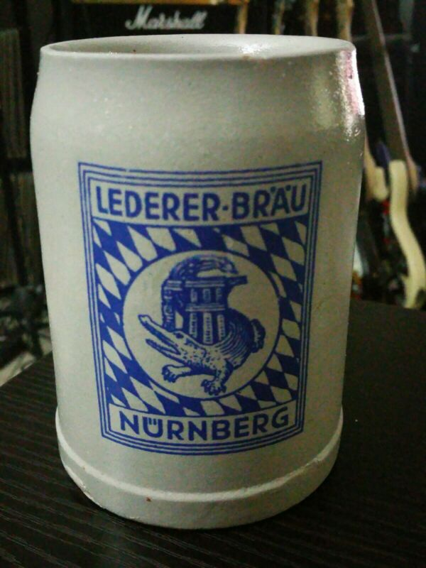 Vintage Lederer-Brau Nurnberg 0.5L Stoneware Handmade German Beer Mug, Stein