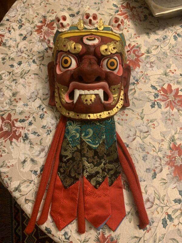 Vintage Hand Carved & Painted Wooden Tibetan Mask Ritual Tribal Folk Art Ribbons