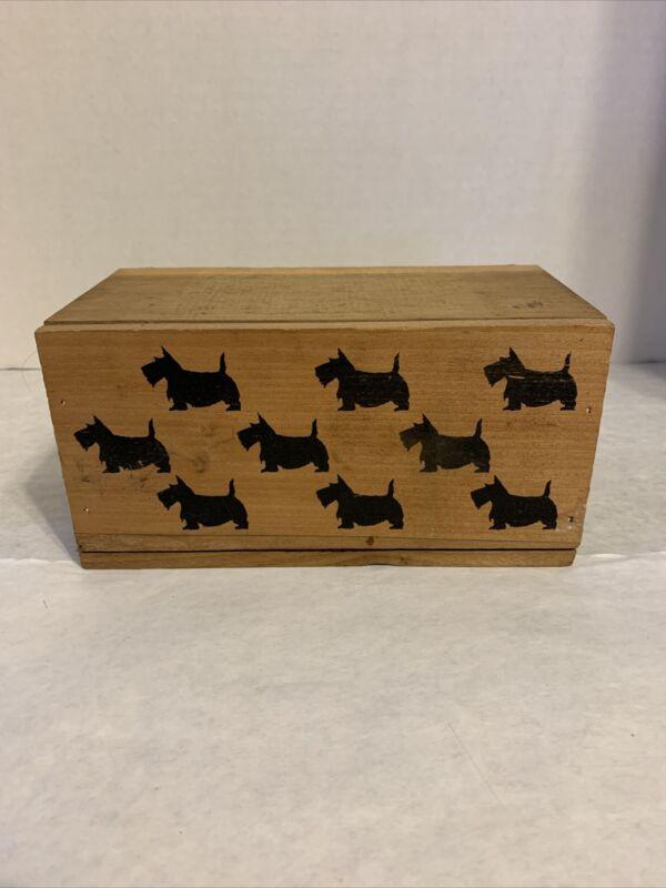 Wood Scottie Dog Shortbread Cookie Box