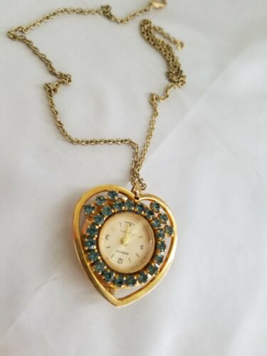 "Vintage Ladies REMINGTON PENDANT WATCH Manual 1.5"" Heart shaped- gold tone -Sign"