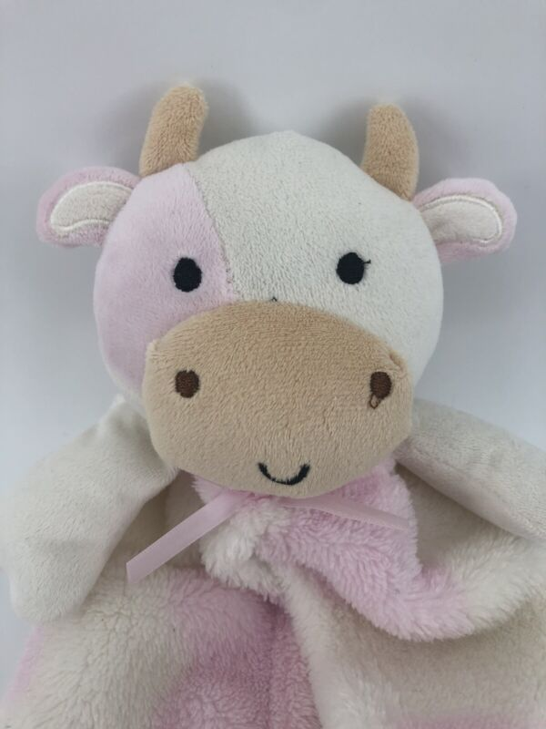 Cutie Pie Pink White Cow Baby Lovey Security Blanket Plush Fleece ~ Free Ship. Y