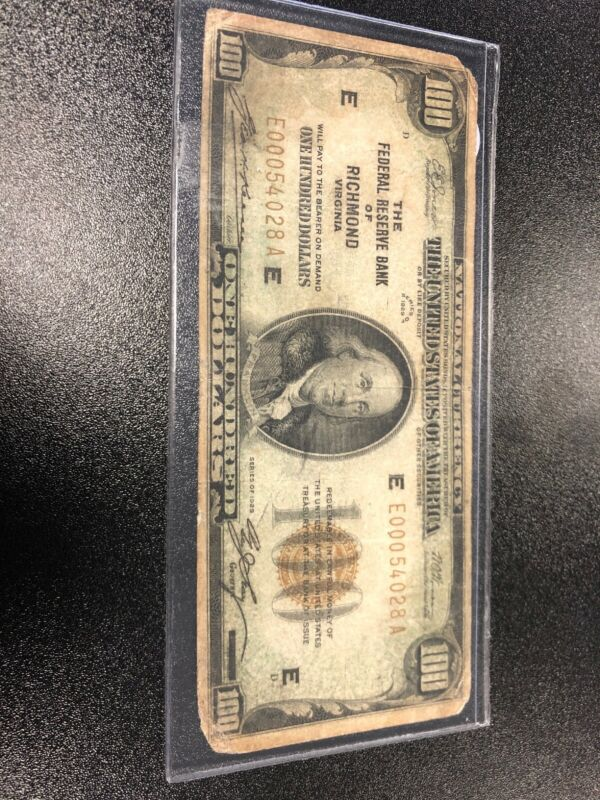 The Federal Reserve Of Richmond Virginia $100 National Currency 1929