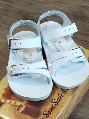 New Sun-San Salt Water Sandals,water safe Sea Wee, white leather, infant 1,NWT