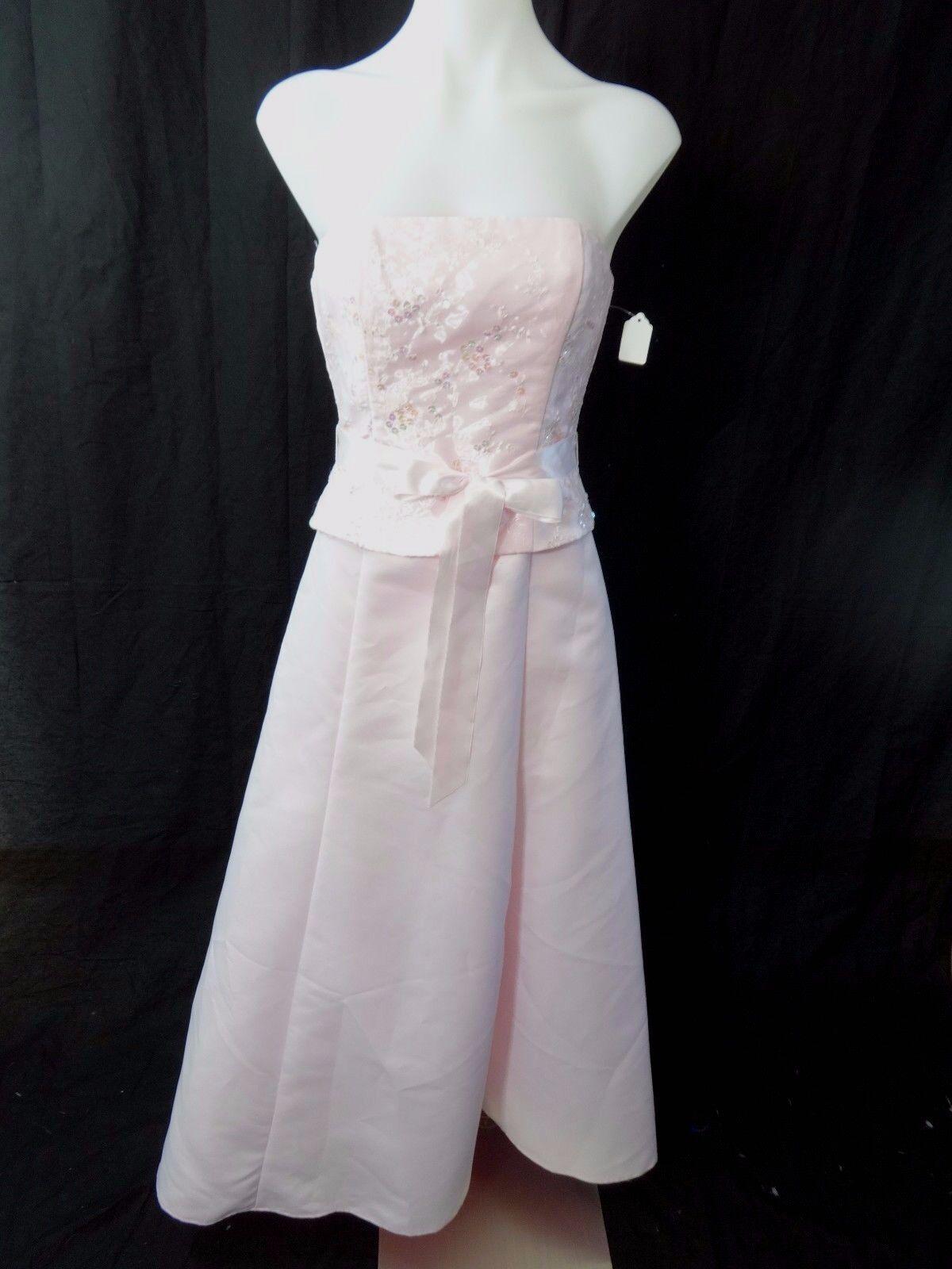 details zu jessica mcclintock gunne sax damen rosa satin perlen festliches  kleid größe 3/4