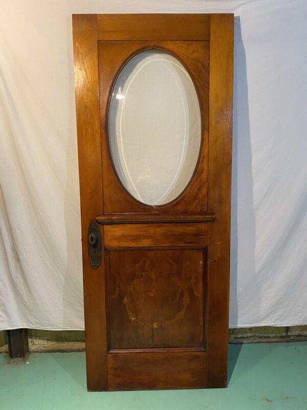 Antique Oak Front Door w/Large Oval Window Victorian - Reclaimed Vintage 1900