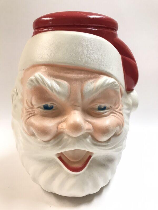 Vintage Blow Mold Santa Claus Head Face Cookie Jar Plastic