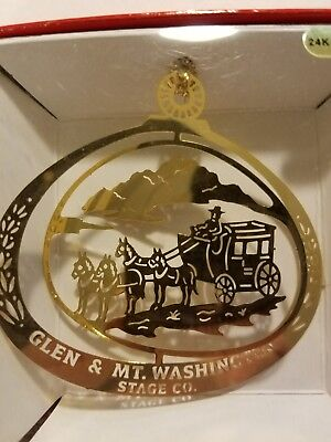 Glen & Mt. Washinton Stage Co. NH 24K Genuine Gold Flashed Brass Ornament