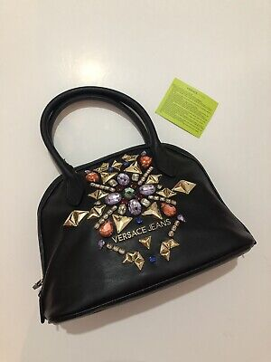 Versace Jeans Black Leather Jewelled Crystallised Bag