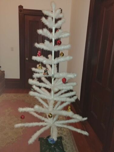"Antique White German? 72"" Christmas Goose Feather Tree w Berries & ornaments"