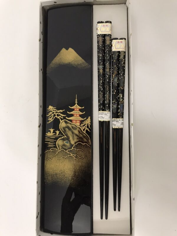 Japanese His/Her Abalone & MOP Inlaid Lacquer Wood Chopsticks Set W/Case-New