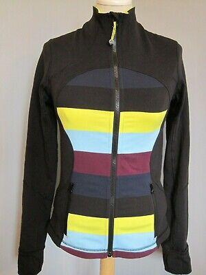Lululemon Define Black Multi Color Front Stripe Front Jacket Top Women's Size 4