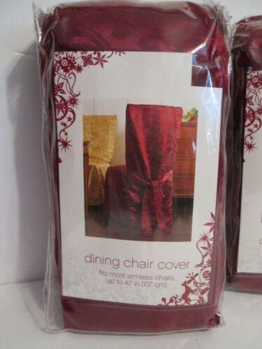 "Damask Burgundy Dining Room 42"" Armless Chair Slip Covers Se"