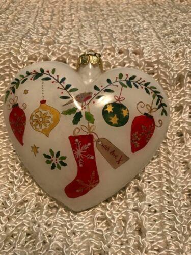 2015 Heart Li Bien Puffy Glass Heart Pier1 Collectable Christmas Ornament