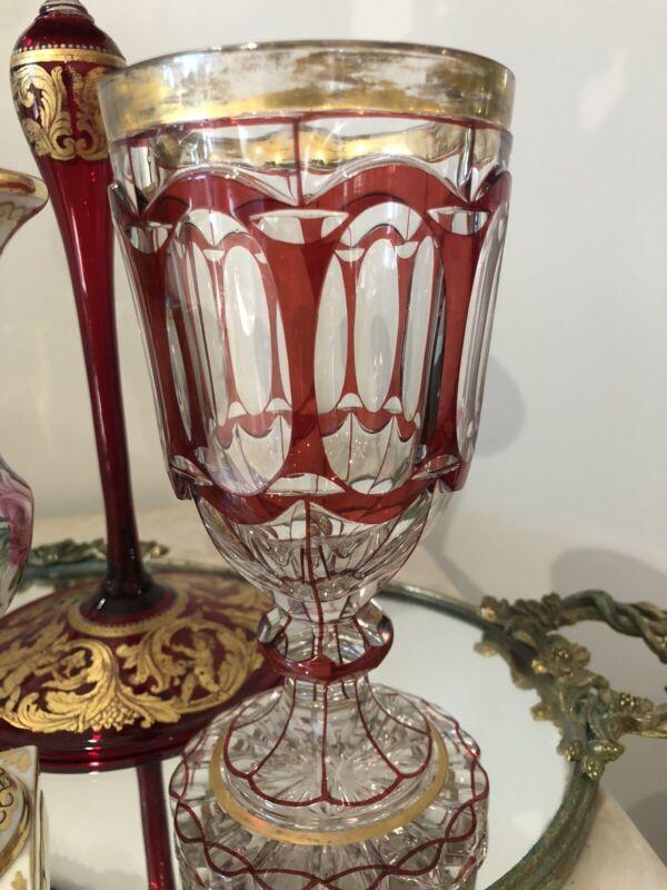 Antique LARGE Biedermeier Goblet Bohemian Czech Ruby Red Cut to Clear Gold Gilt