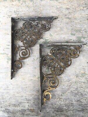 Pair Two Fancy Antique Bronzed Finish Iron Shelf Brackets
