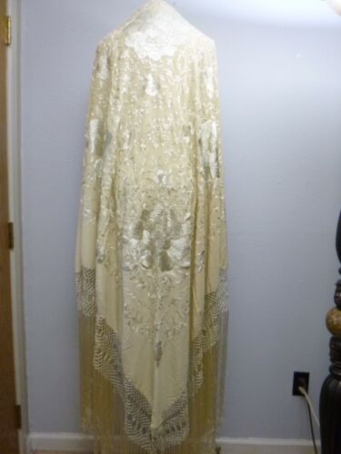 Vintage Embroidered Silk Canton Piano Shawl Long Fringe