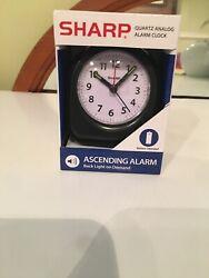 Sharp Quartz Analog Black Ascending Alarm Clock Battery Operated