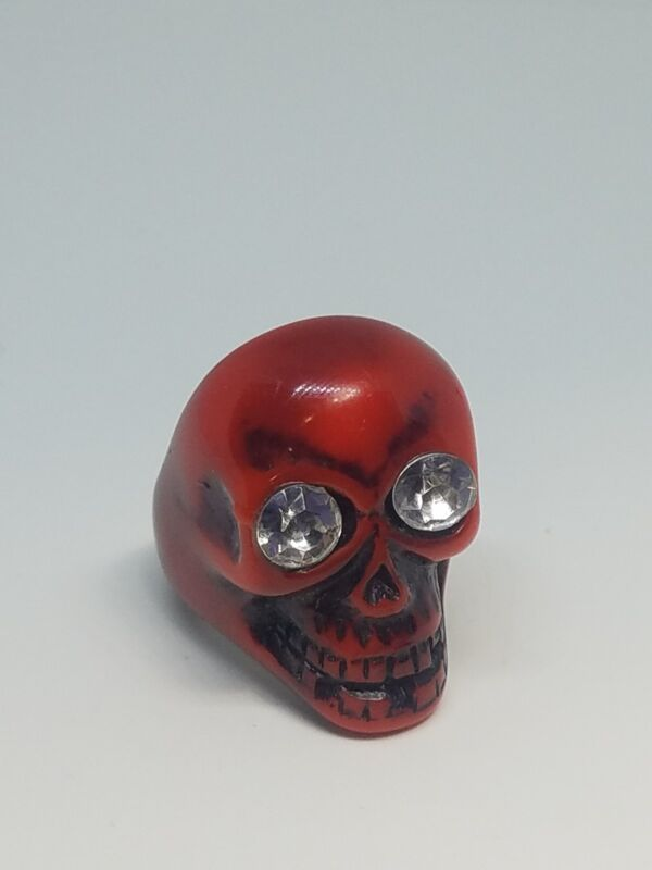 Plastic Lucite Scull Ring Faux Crystals Size 8