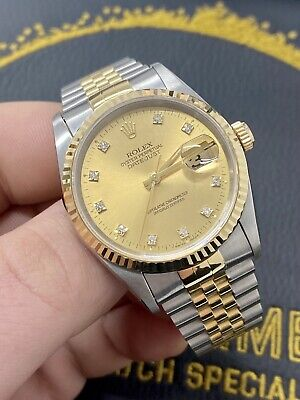 Rolex Datejust 16233 in Steel & Gold - Box and Papers Factory Diamond Dial