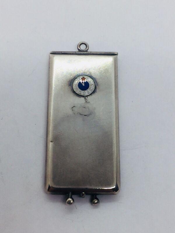 Antique BPOE Elks Club Sterling Silver Enamel Card Case Pendant