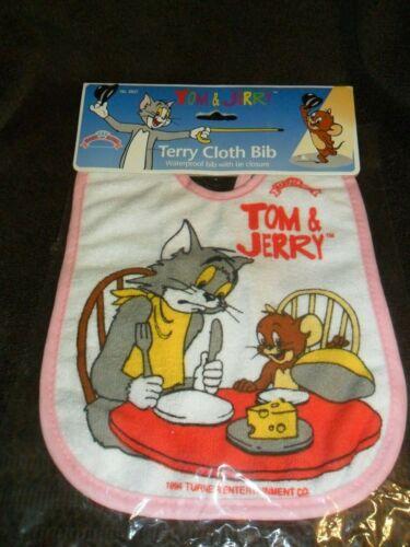 1994 Tom & Jerry Cartoon Terry Cloth Baby Bib in Original Package